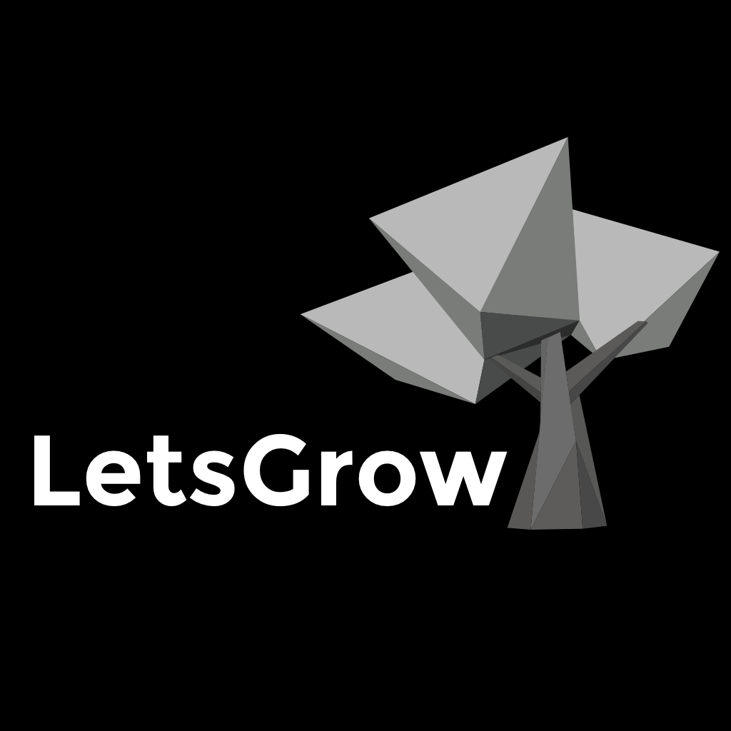 LetsGrow Logo - Greyscale on Black