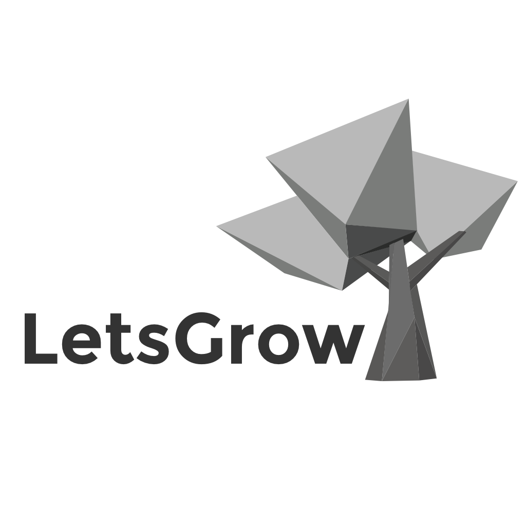 LetsGrow Logo - Greyscale on White